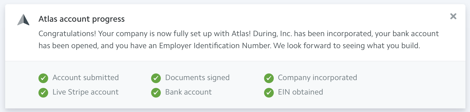 Stripe Atlas signup process